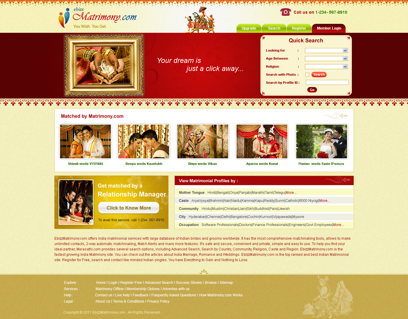 Web Templates Can Give The Exact Look For The Thought Of The - Matrimonial website templates